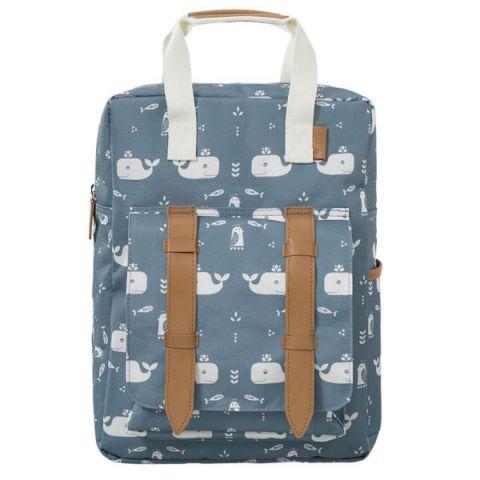 Duży plecak dla dziecka Fresk  Wieloryb Blue fog