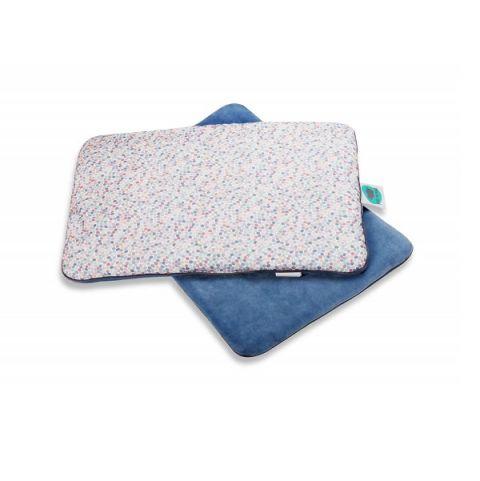 Płaska poduszka niemowlęca bawełniano-welurowa Dots Pink No More
