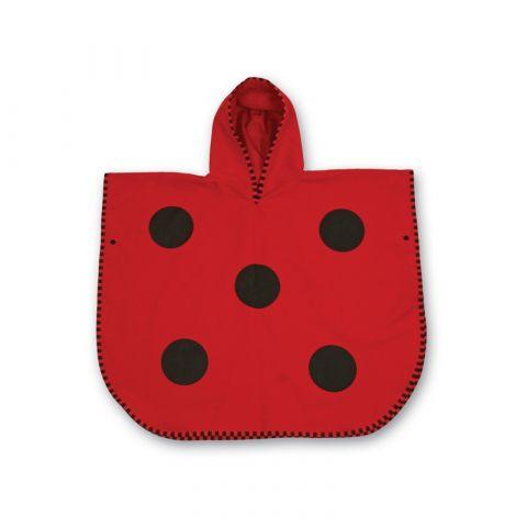 ponczo plażowe czerwone w kropeczki dla dziecka