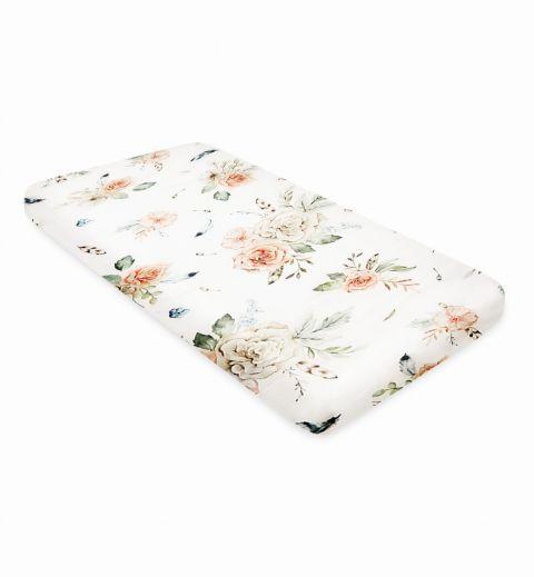 Prześcieradło do łóżeczka dziecięcego z bawełny QBANA MAMA VINTAGE FLOWERS 120x60