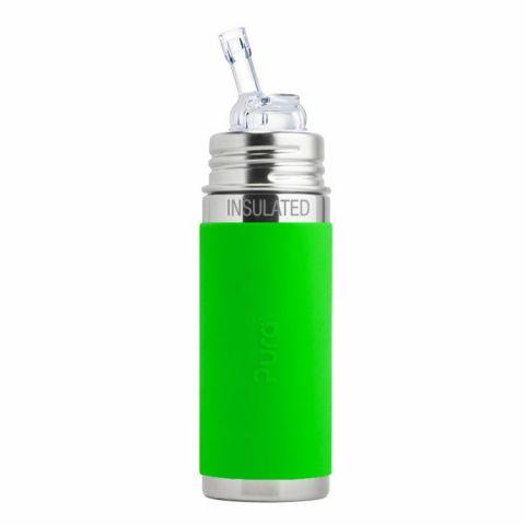 PURA termobutelka ze słomką i zieloną osłonką