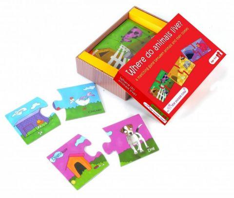 Puzzle DUO The Purple Cow - Gdzie mieszkają zwierzęta