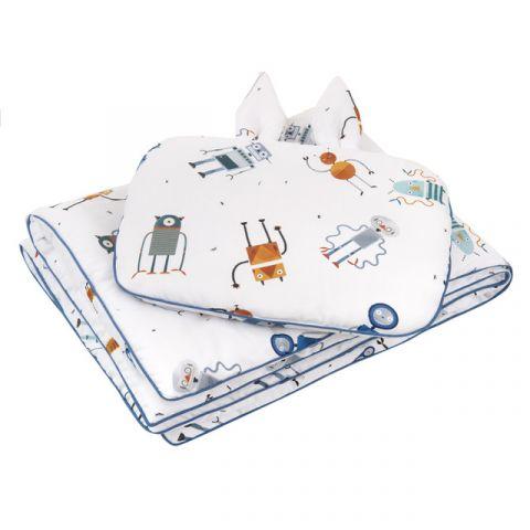 komplet pościeli chłopiecej z wypełnieniem M ROBOTY poduszka z uszkami