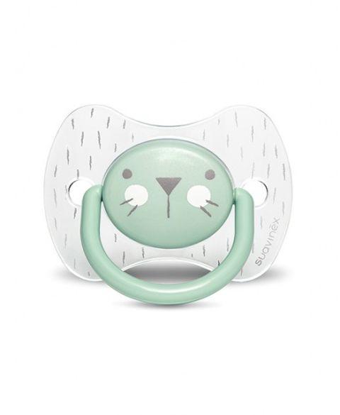Smoczek fizjologiczny silikonowy dla niemowląt 6-18m Hygge KOTEK MIĘTOWY SUAVINEX