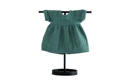 muślinowa sukienka dla lalki zielona