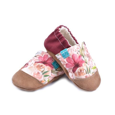 Kapcie dla dzieci TITOT z podeszwą skórzaną i noskiem Vintage Flowers 3 L