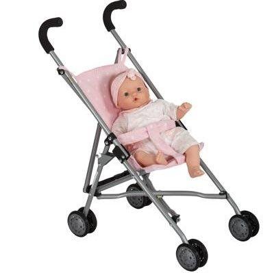Wózek dla lalek spacerówka Róż w białe gwiazdki Barrutoys