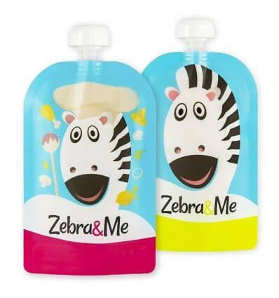 Zebra and Me Saszetki do karmienia 2pack błękit