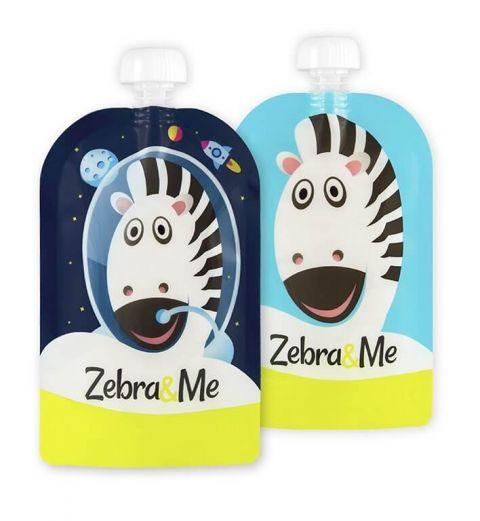 Zebra and Me Saszetki do karmienia 2pack granat